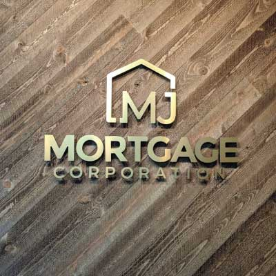 Gold metal 3D letters on wood slat wall. Text reads: Mortgage Corporation