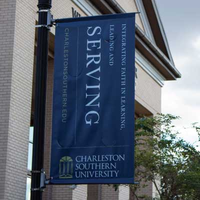 Blue pole vinyl banner with vertical lettering