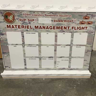 White with red lettering and graphic background weatherproof dry erase board showing empty square sections to enter flight information.