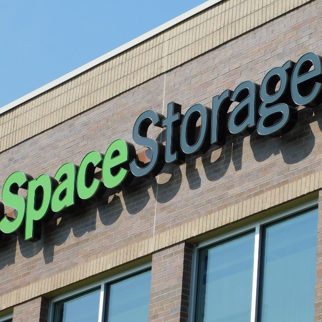 Green and black 3D Sign Letters for Extra Space Storage Business