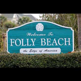 Folly Beach welcome sign made from sandblasted redwood