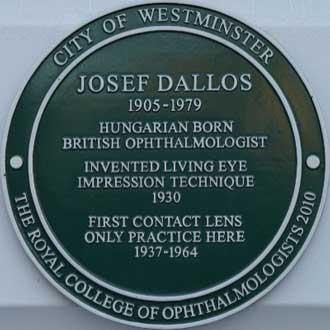 Joseph Dallos opthalmologist commemorative plaque in green