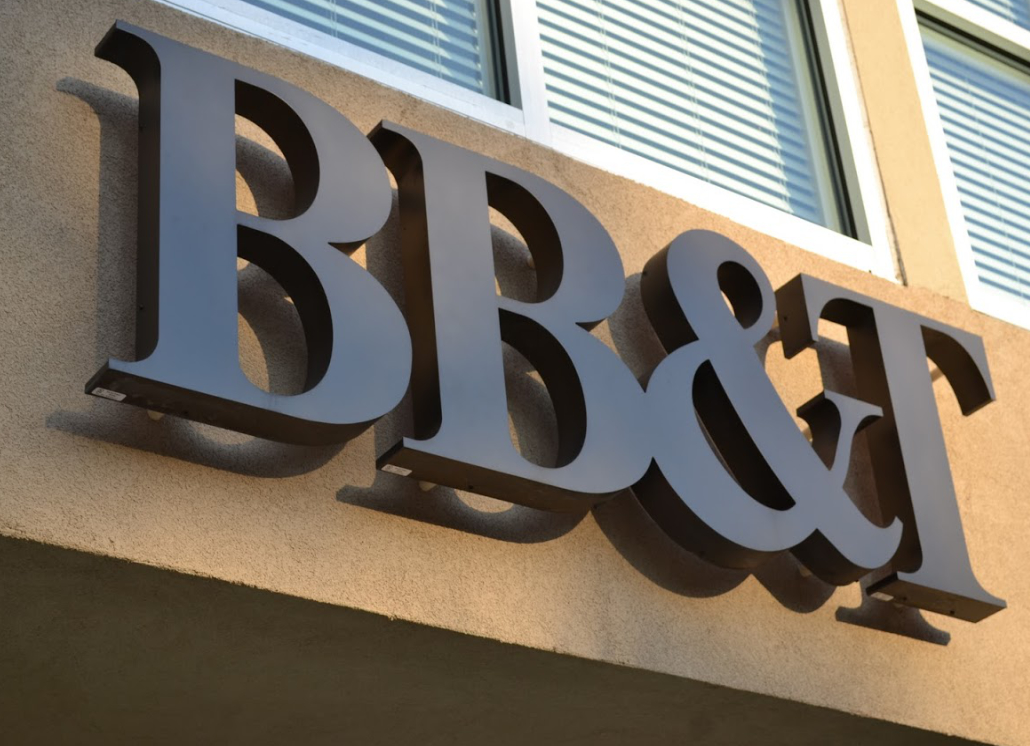 Brown 3D letters on wall that read BB&T