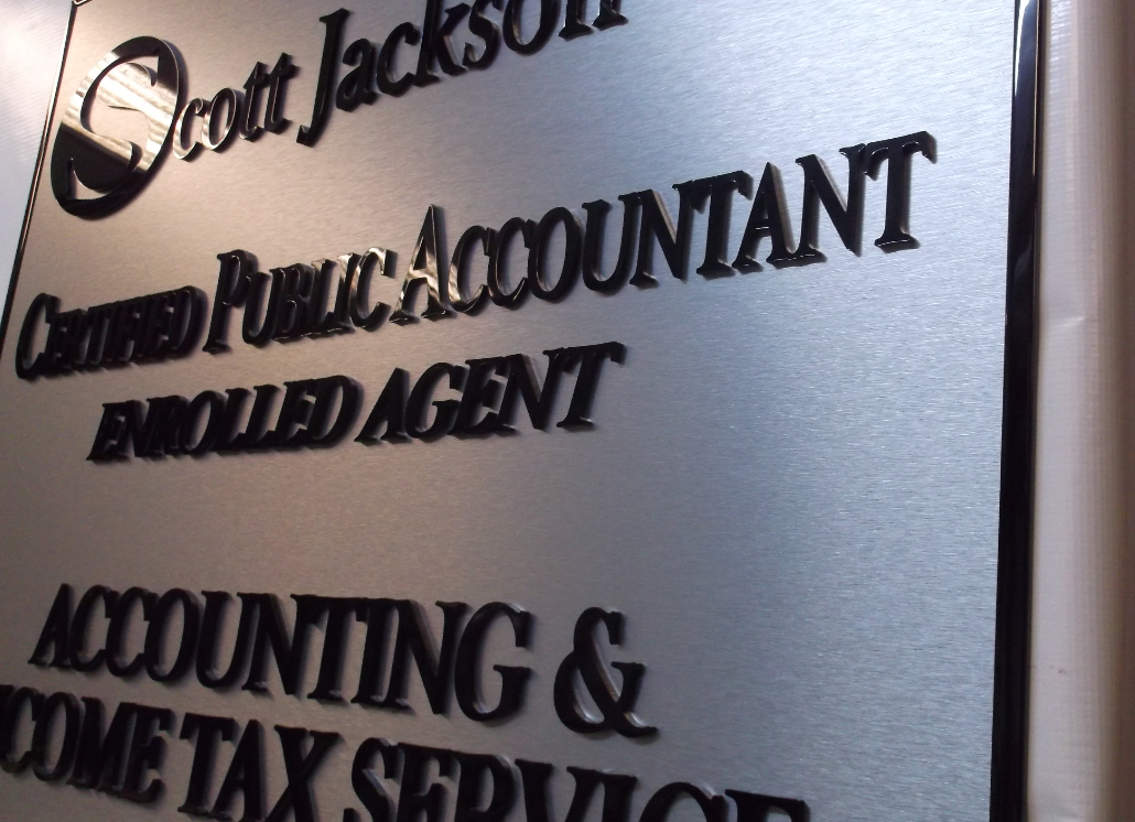3D Letters on Brushed Metal Outdoor Sign for Accounting Business's Wall