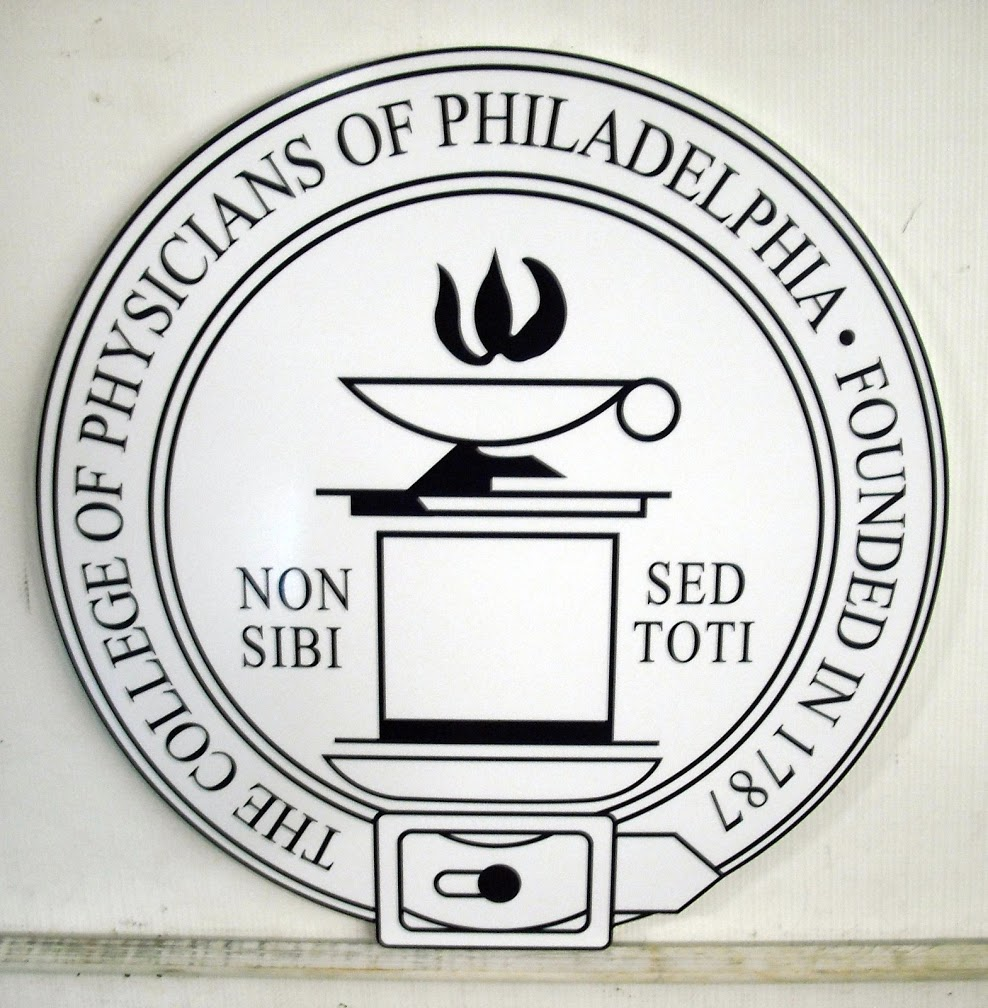 The college of Physicians of Philadelphia sign made of PVC