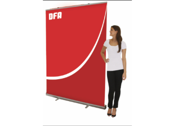 Full Size Retractable Marketing Banner Stand for Trade Shows, Conventions, and Promotional Events.