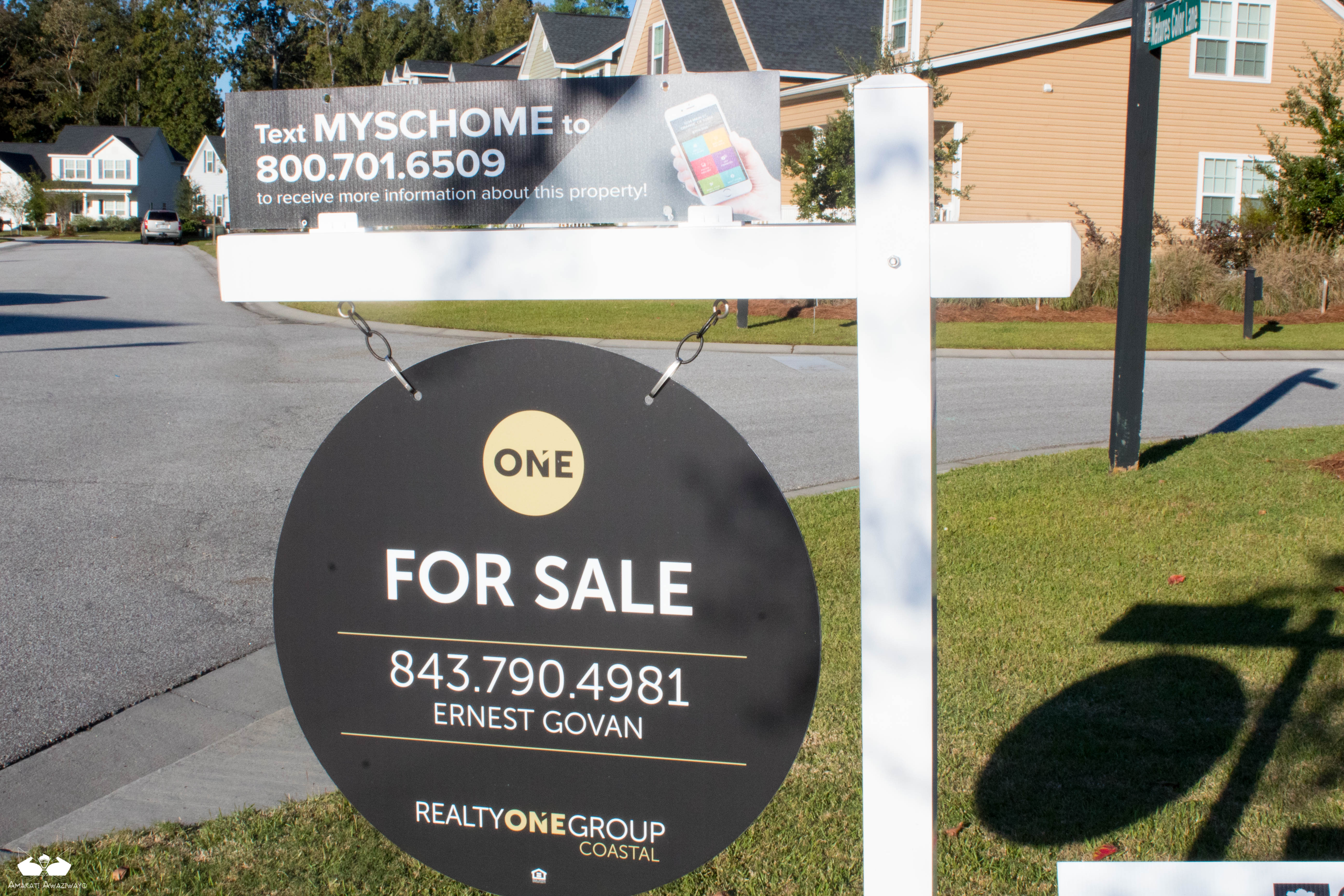 Hanging pole sign with text that reads: ONE FOR SALE 843.790.4981 ERNEST GOVAN REALTYONEGROUP COASTAL