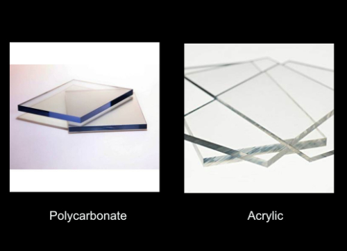 Comparison Photo of Lexan and Acrylic used for Custom Signs