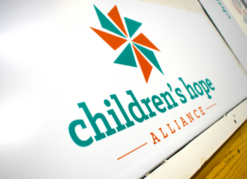 Graphic Design for Childerens Hope on White Aluminum Panel Armour-Wood Signage