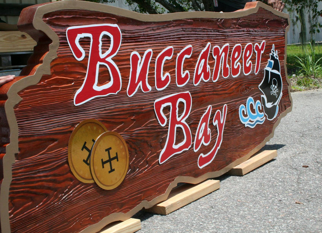 Sandblasted Dimensional Wooden Sign with pirate ship graphic and text that reads: Buccaneer Bay