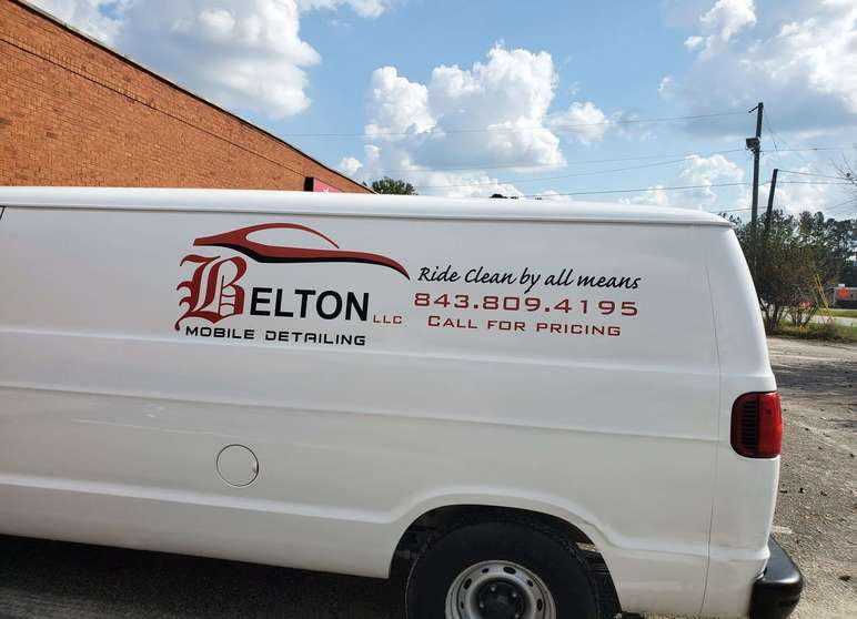 Belton mobile detailing van with red and black graphic