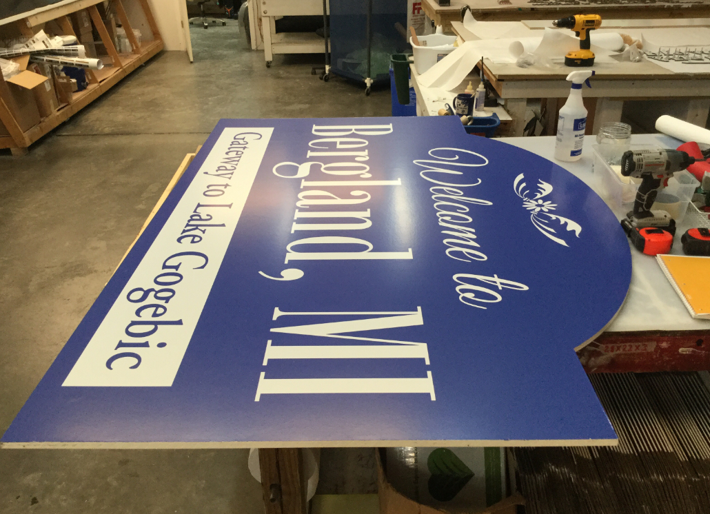 Bergland MI Wooden Monument Sign with Painted Design