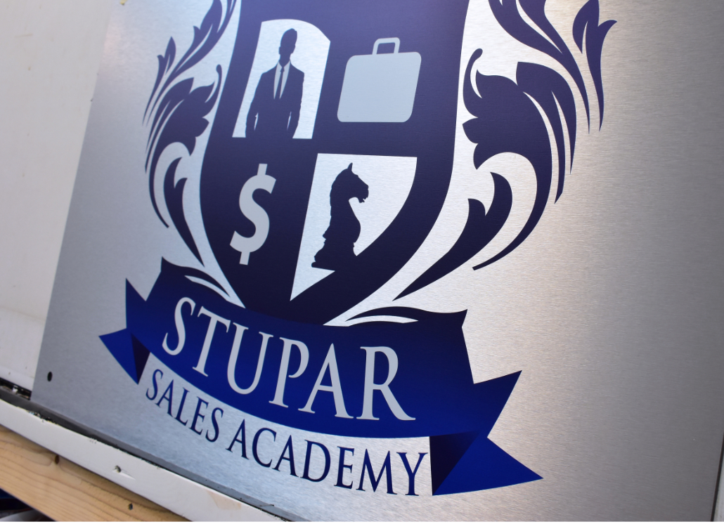 Stupar Sales Academy Aluminum Wall Sign With Brushed Metal Finish