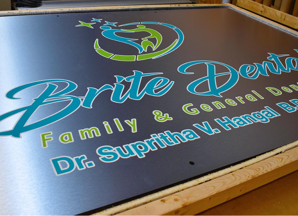 Brushed  Brite Dental Business Aluminum Signage for Business Brand