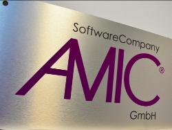 Custom Dibond Sign with Brushed Aluminum Surface and AMIC logo