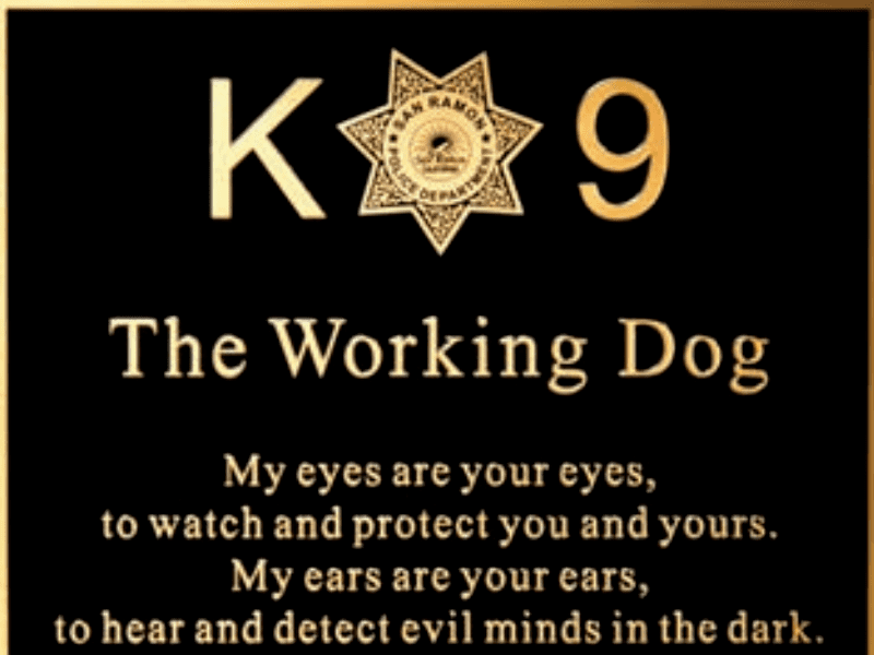 Cast Metal Plaque with text that reads: K9 The Working Dog