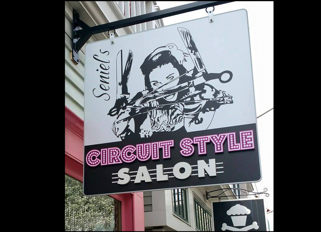 Circuit Style Hanging Metal Signage with Custom Graphic Design