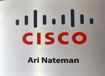 Brushed Aluminum Cisco Sign with Vinyl Letters Suited for Outdoor Use
