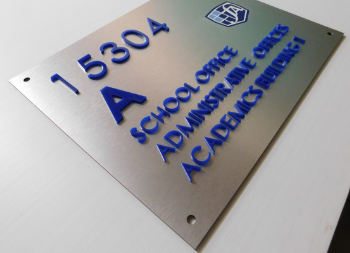 Dibond Wall Sign for School Office with Acrylic Letters