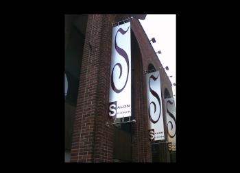 Salon Sign Hanging Outdoors Made of Dibond