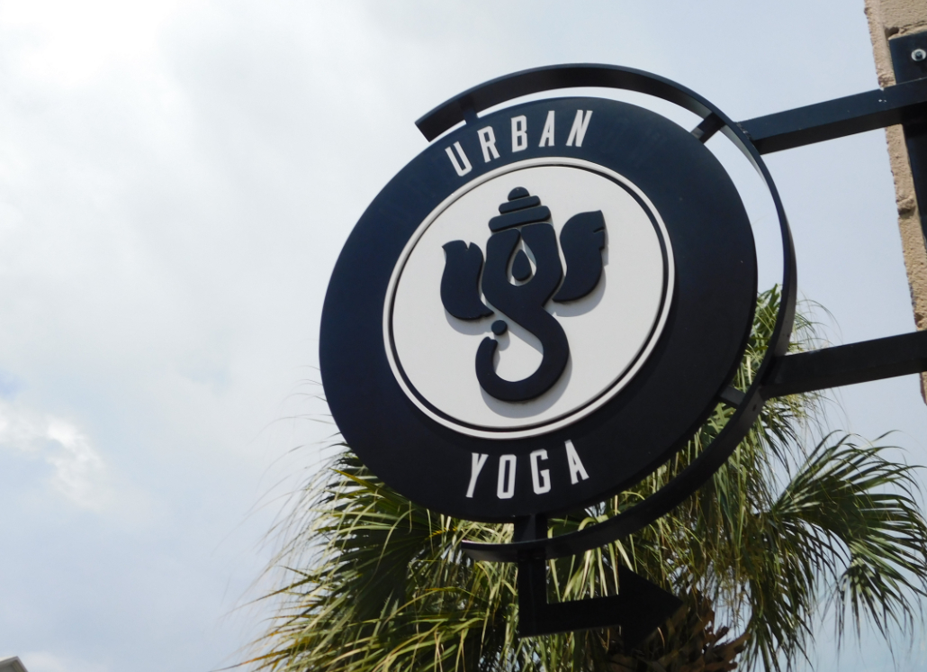 Yoga Elephant Hanging Wooden Sign for Street Promotion