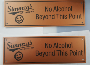 Indoor Laser Engraved Plastic Wall Sign for Simmzy's