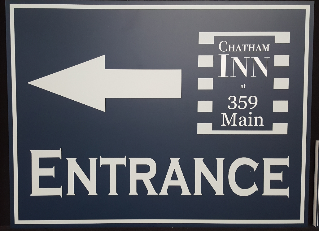 Entrance Signage for Chatham Inn Wooden Material