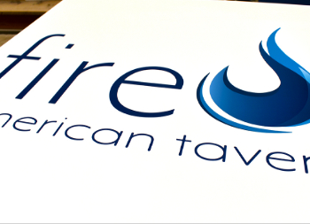 Wooden Advertisement Sign with Fire Logo for Commercial Business