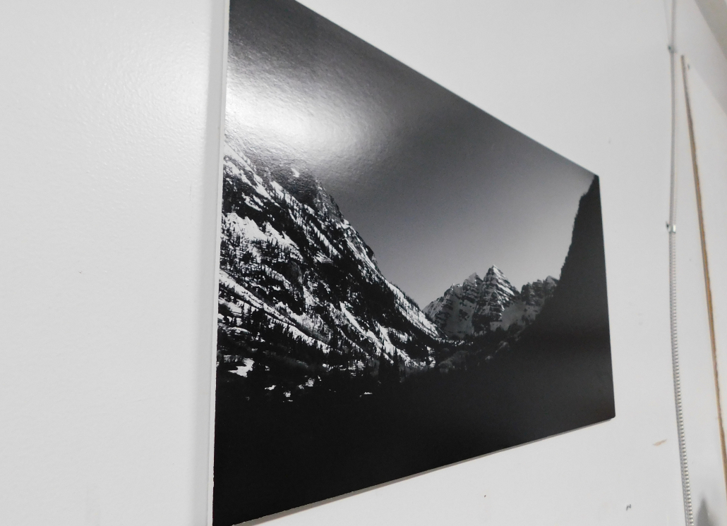 Foam Core Ultra indoor wall sign with black and white photo of mountain range