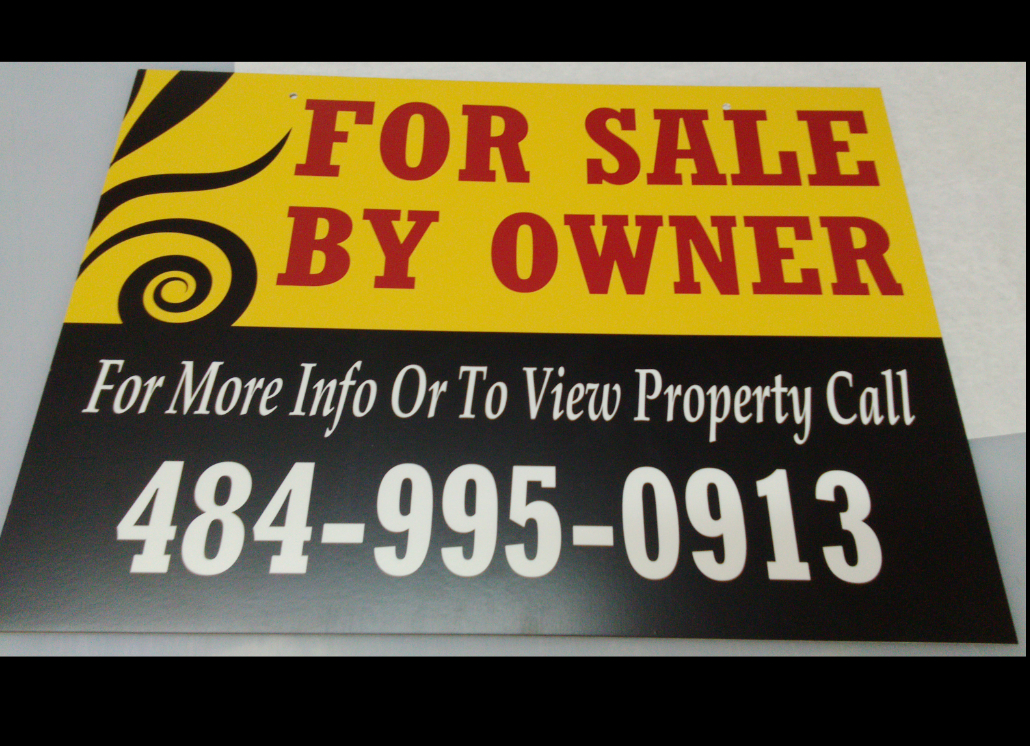 For Sale Wooden Sign with Graphic Design