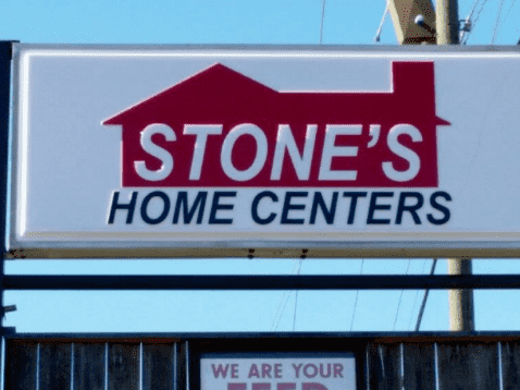 Formed Aluminum sign with house graphic and text that reads: STONE'S HOME CENTERS