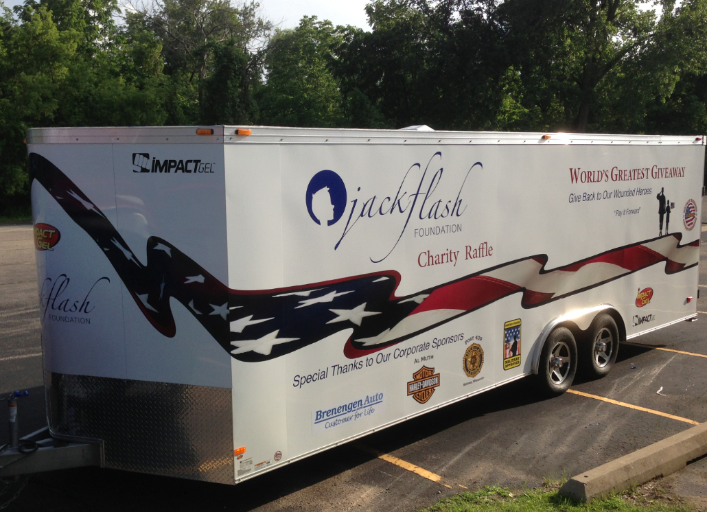 Full American Flag Vinyl Letter and Logo Design for Large Jack Flash Trailer