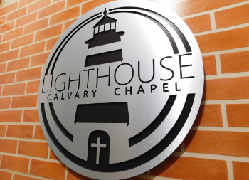 Wall Mounted Dibond Metal LightHouse Chapel Sign with Cut Design