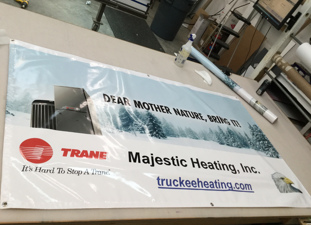 White Vinyl Banner Indoor Wall Sign with text thaat reads: DEAR MOTHER NATURE, BRING IT!