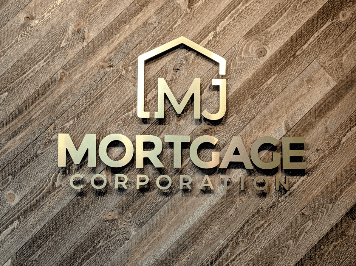 Metal letters on wooden background with text that reads: mj MORTGAGE CORPORATION