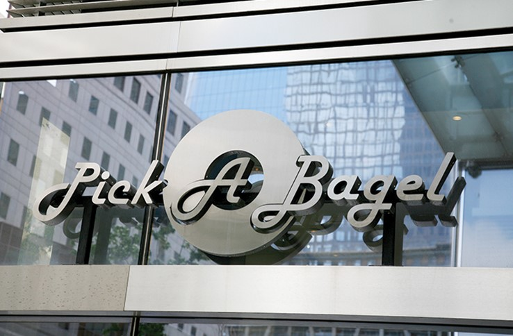 Stainless steel metal 3D letters with text that reads: Pick A Bagel