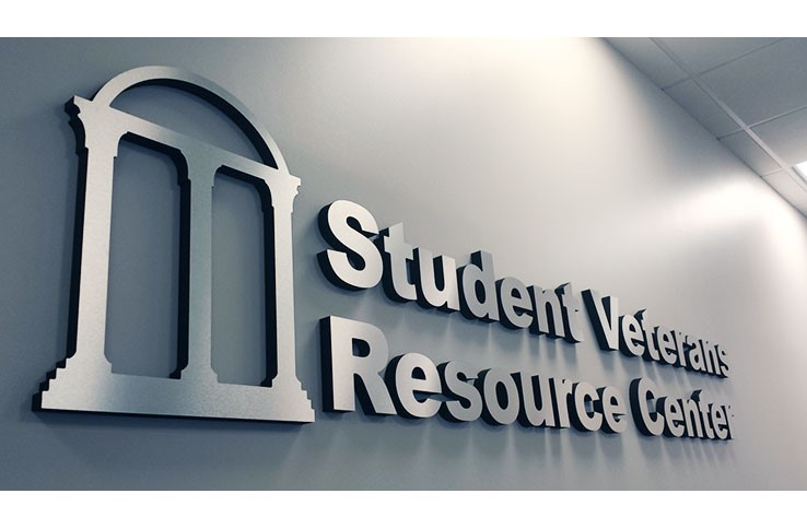 Metal-plated 3D Letters with text that reads: Student Veterans Resource Center