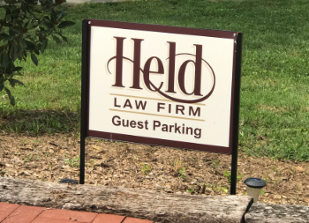 Metal Framed Custom Outdoor Sign for Held Law Firm
