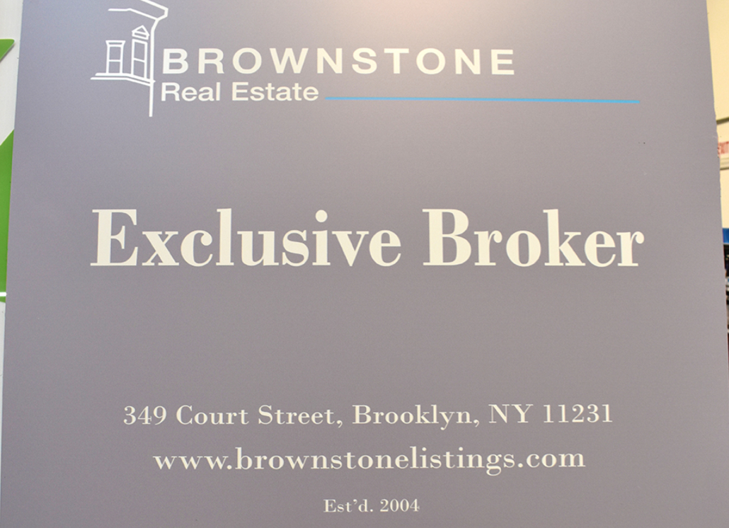Outdoor Metal Real Estate Sign with Graphics for Broker in New York