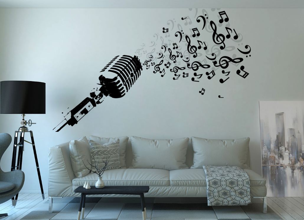 Vinyl Design of Mic for Wall Graphic Decoration