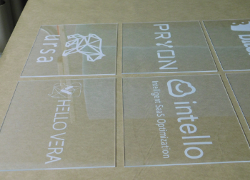 Multiple Engraved Acrylic Signs for Various Companies and Brands