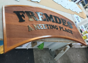 Natural Redwood Hanging Sign for Outdoor Marketing