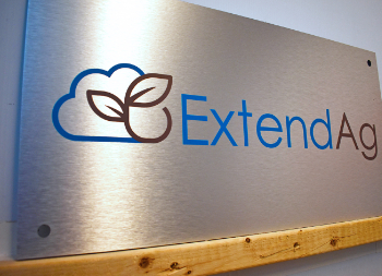ExtendAG Graphic Design on Brushed Silver Outdoor Sign