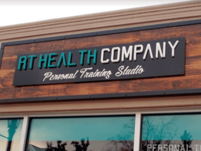 Formed Plastic 3D Letters with text that reads: RT HEALTH COMPANY