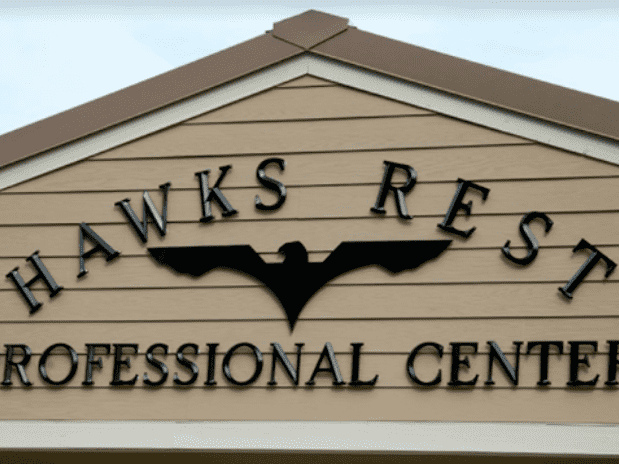 Injection-molded Plastic 3D Letters with text that reads: HAWKS REST