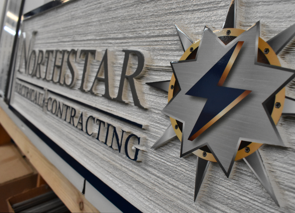 Redwood Sandblasted Dimensional Sign with text that reads: NORTHSTAR ELECTRICAL CONTRACTING