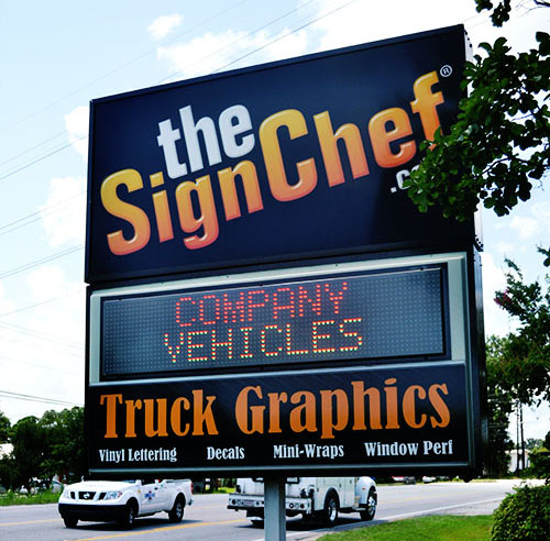 Lexan Sign Chef Sign that Has Full Lighting at Night