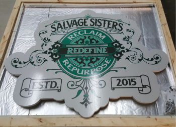 Wooden Sign with Full Design for Salvage Sisters