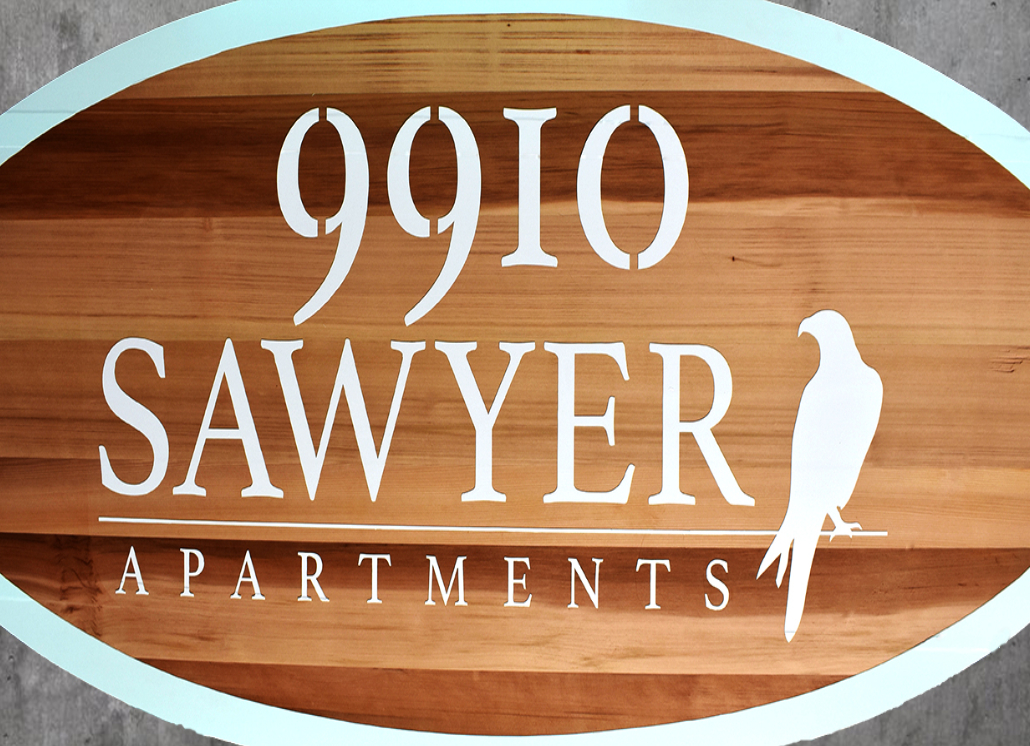 Redwood Sign Made for Sawyer Apartments Business Signage