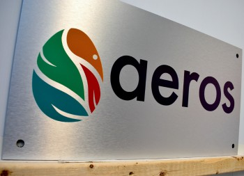 Aeros Outdoor Wall Sign Made of Brushed Aluminum